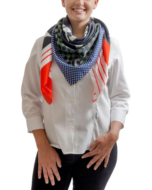Givenchy - 1212gv Sd250 1 Navy Blue Printed Scarf - Lyst