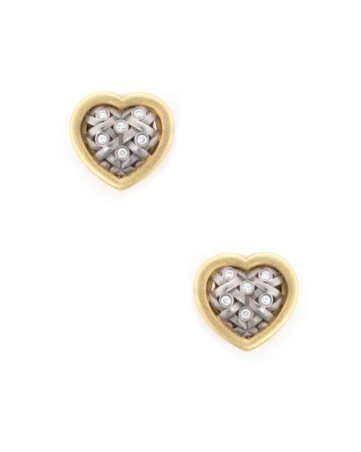 Unbranded - Metallic Pre Owned Kieselstein Cord Heart Diamond Weave Earrings Estate 18k Gold - Lyst