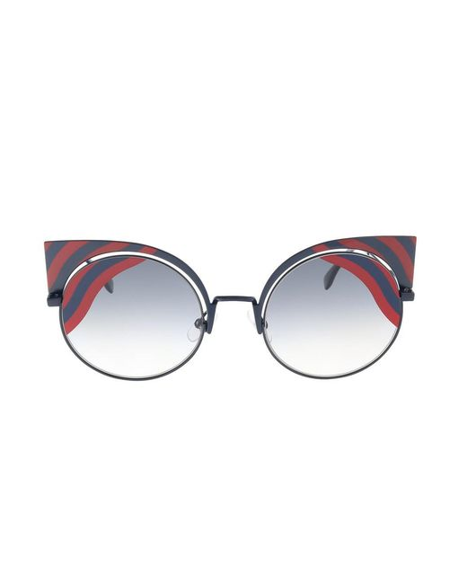 c3def1fad8a4 Lyst - Fendi Ff 0215 s 00m1 Hypnoshine Dark Blue red Cateye ...
