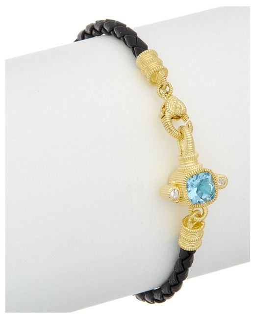 Judith Ripka - Metallic 14k Over Silver & Leather 2.12 Ct. Tw. Gemstone Bracelet - Lyst
