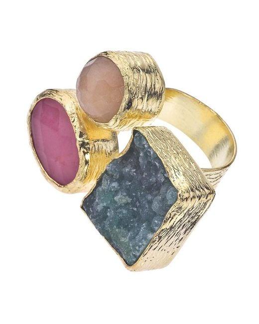 Jewelista | Yellow 18k Gold Plate, Quartz & Druzy Floating Ring | Lyst