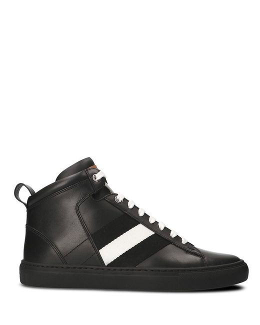 Bally - Men's Black Leather Hi Top Sneakers for Men - Lyst