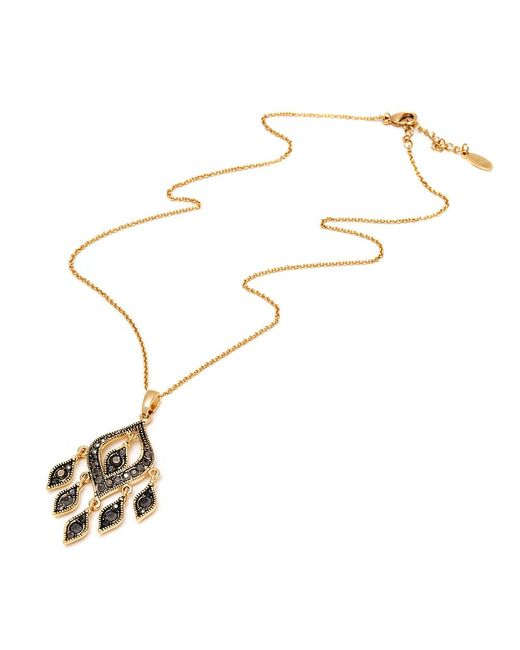 Peermont - Metallic Gold And Black Swarovski Elements Chandelier Pendant Necklace - Lyst