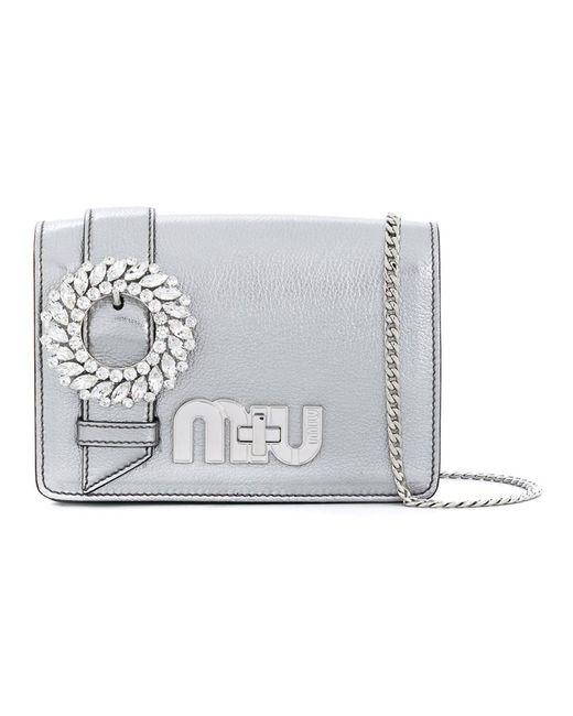 Miu Miu - Metallic Women's Silver Leather Shoulder Bag - Lyst
