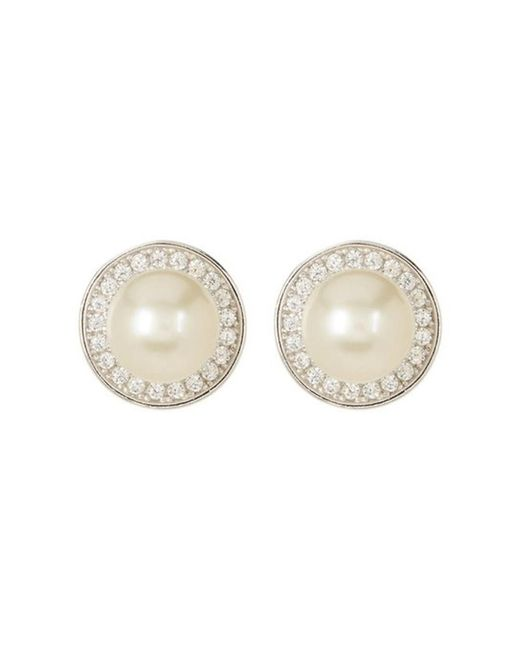 Adornia - White Halo Earrings Freshwater Pearl And Swarovski Crystal - Lyst
