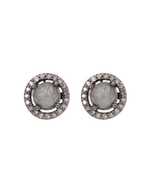 Adornia - Gray Labradorite And Champagne Diamond 5mm Echo Halo Stud Earrings - Lyst