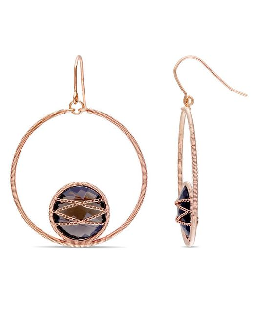 Catherine Malandrino | Pink Round Smokey Quartz Circle Drop Earrings In Sterling Silver | Lyst