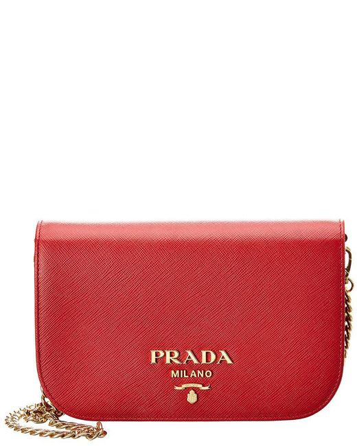 08a3e76bee2a Prada - Red Saffiano Leather Shoulder Bag - Lyst ...