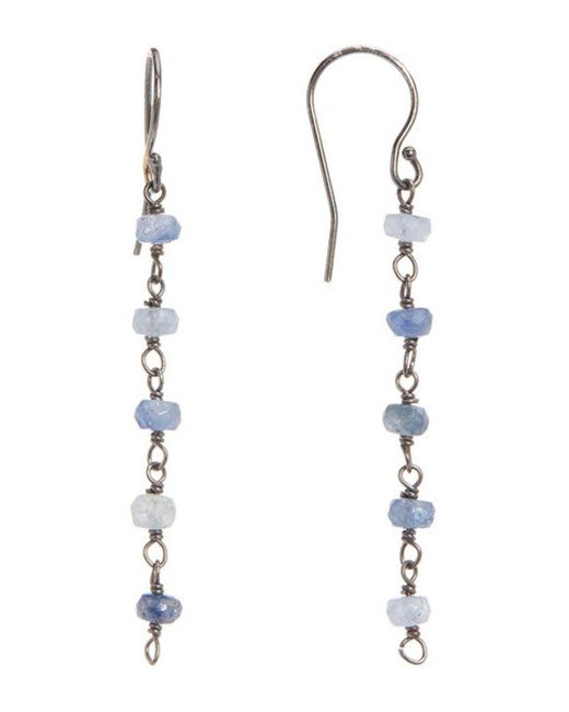 Adornia - Metallic Sterling Silver And Blue Sapphire Dangle Earrings - Lyst
