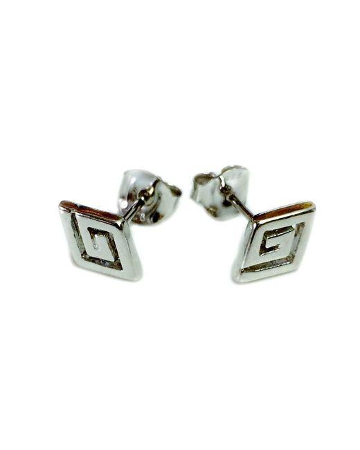 JewelryAffairs | Metallic Sterling Silver Rhodium Plated Ancient Greek Key Stud Earrings | Lyst
