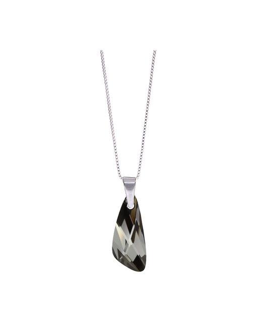 Barzel - Metallic Genuine Swarovski Wing Silver Night Crystal Pendnat In Sterling Silver Chain Necklace - Lyst
