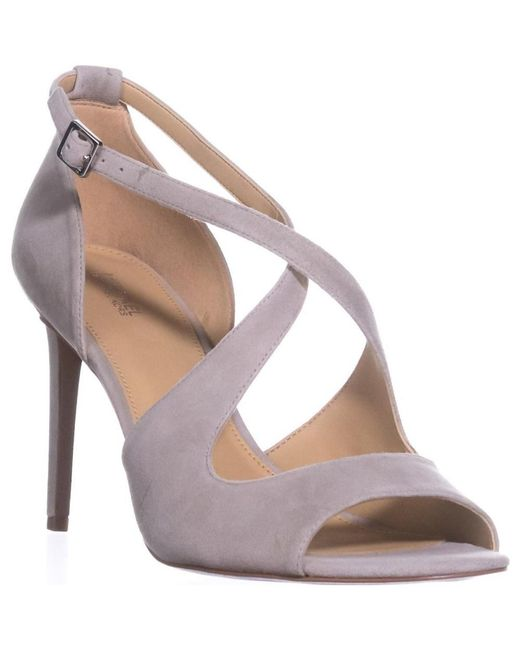 Michael Kors - Gray Michael Estee Sandal Cross Strap Sandals, Cement - Lyst