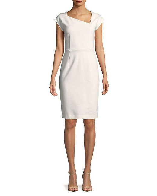 French Connection - White Lula Stretch Sheath Dress - Lyst