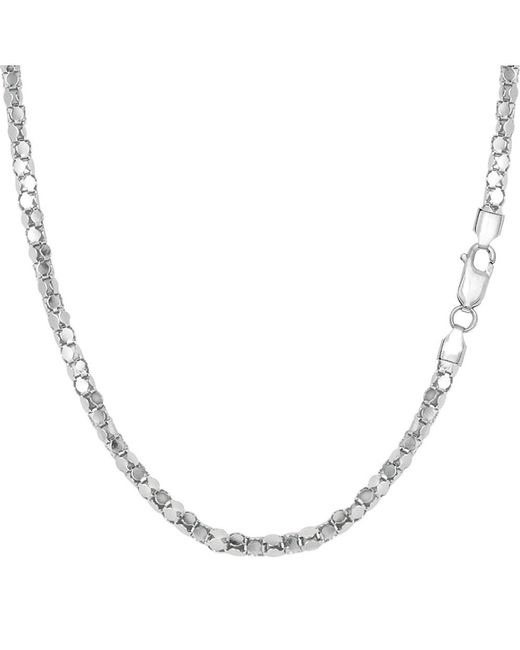 JewelryAffairs   White Sterling Silver Rhodium Plated Popcorn Rope Chain Necklace, 2.2mm, 20   Lyst
