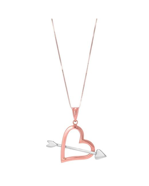 JewelryAffairs - Pink 14k Rose And White Gold Arrow Through Open Heart Pendant Necklace, 18 - Lyst