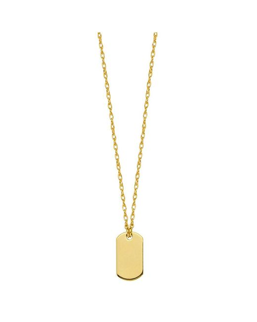 "JewelryAffairs - 14k Yellow Gold Engravable Dog Tag Pendant Necklace, 16"" To 18"" Adjustable - Lyst"