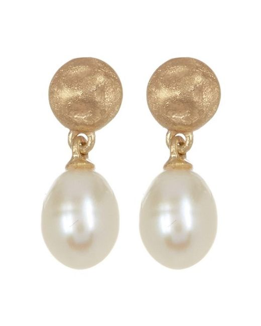 Adornia - White Sterling Silver Matte Finish Disc With Hanging Fresh Water Pearl Earrings - Lyst