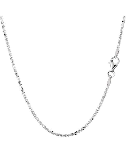 JewelryAffairs - White Sterling Silver Rhodium Plated Sparkle Chain Necklace, 2.2mm, 24 Inch - Lyst