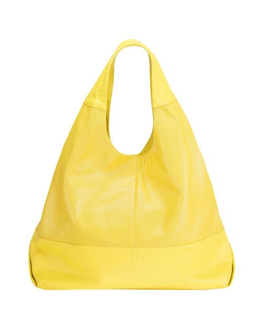 Mofe | Yellow Halcyon Perforated Leather Triangular Tote-style Shoulder Bag With Interior Zip Center Divide | Lyst