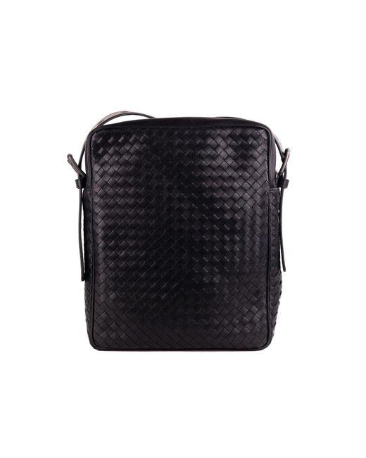 b6f56d1c47 ... Bottega Veneta - Black Calf Leather Intrecciato Messenger Bag for Men -  Lyst ...