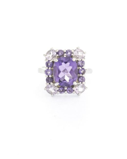 Pangea Mines | Purple 925 Sterling Silver Pink And Brazilian Amethyst Halo Ring | Lyst