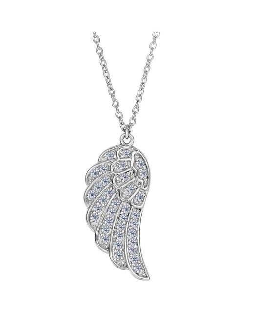 JewelryAffairs - White Sterling Silver Angel Wing Pendant Cz Fashion Necklace, 18 - Lyst