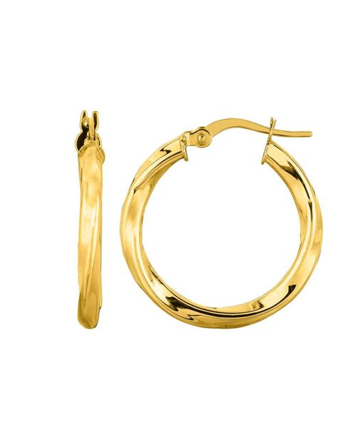 JewelryAffairs - 14k Yellow Gold Round Tube Italian Twist Hoop Earrings, Diameter 20mm - Lyst