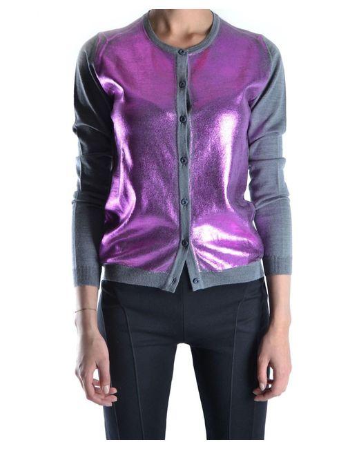 Roberto Collina - Gray Women's Grey/purple Wool Cardigan - Lyst
