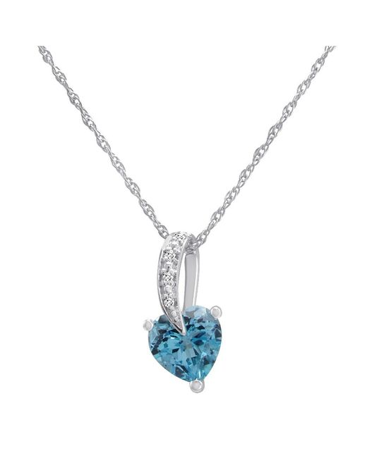 Lyst amanda rose collection swiss blue topaz heart and diamond amanda rose collection swiss blue topaz heart and diamond pendant necklace in sterling silver aloadofball Image collections