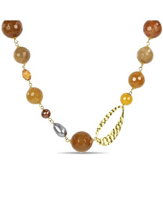 Catherine Malandrino - Multicolor Freshwater Cultured Pearl Agate And Crystal Necklace - Lyst