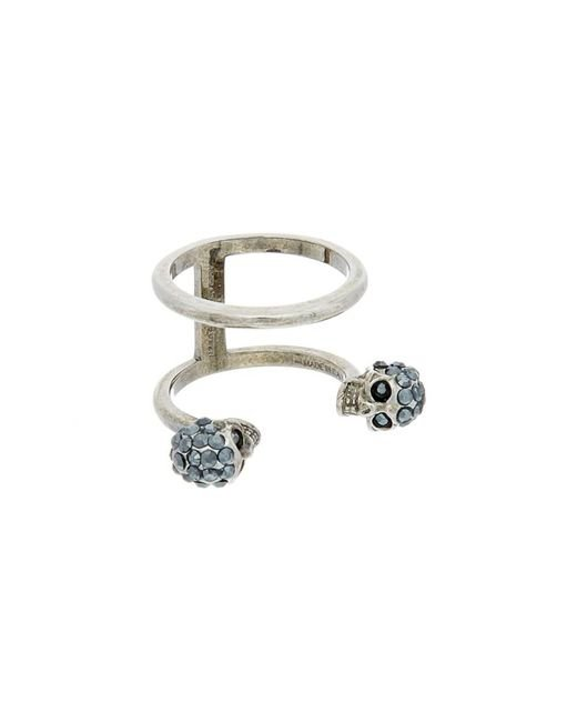 Alexander McQueen | Metallic Twin Skull Double Ring | Lyst