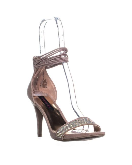 Material Girl - Pink Mg35 Mella Front Bejeweled Strap Ankle Strap Sandals, Blush - Lyst