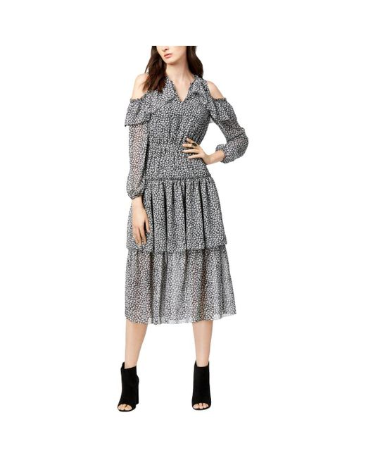 Maison Jules - Black Cold-shoulder Flounce Dress - Lyst