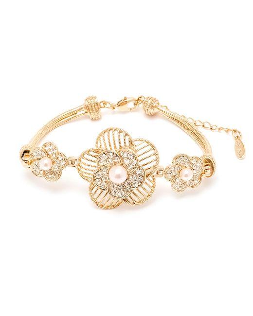 Peermont - Metallic Natural Shell Pearl And Swarovski Elements Flower Bracelet - Lyst