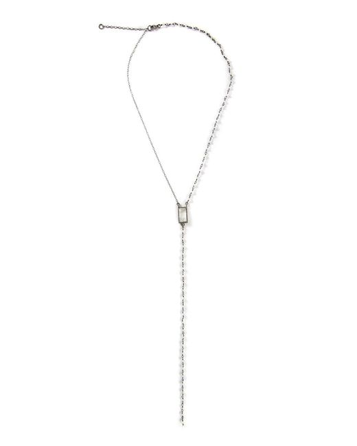Adornia - White Moonstone And Diamond Rectangle Cut Lariat Necklace - Lyst