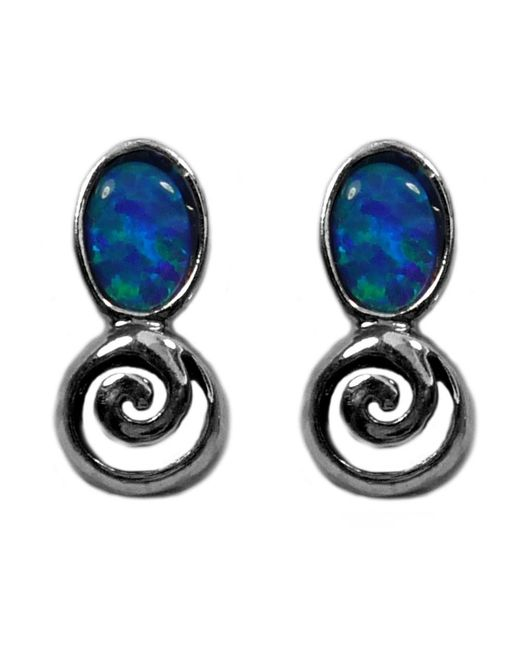 JewelryAffairs - Metallic Sterling Silver Rhodium Plated Greek Spiral Key With Synthetic Opal Earrings, 5 X 12mm - Lyst
