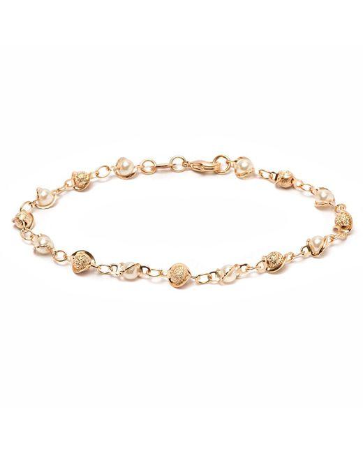 Peermont - Metallic Gold & Natural Shell Pearl Ball Link Bracelet - Lyst