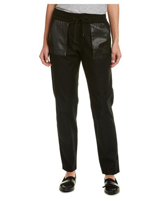 The Kooples   Black Leather-trim Sweatpant   Lyst