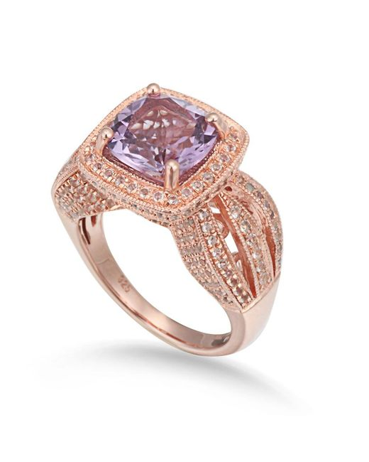 Suzy Levian | Metallic Sterling Silver 4.59 Cttw Purple Amethyst Ring | Lyst