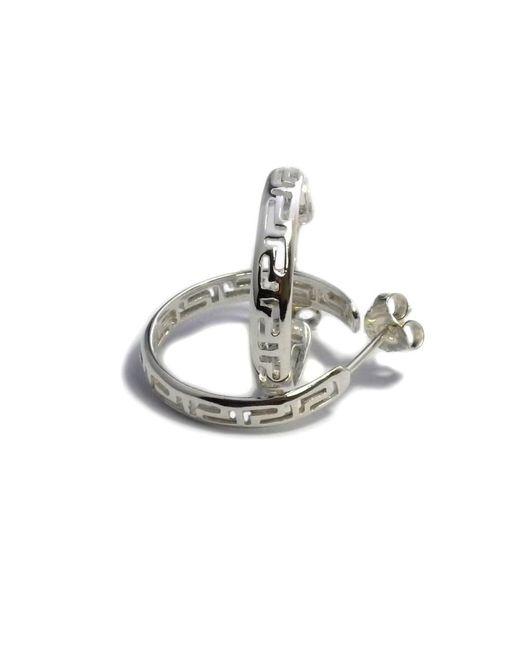 JewelryAffairs - Metallic Sterling Silver Rhodium Plated Ancient Greek Key Hoop Earrings, Diameter 22mm - Lyst