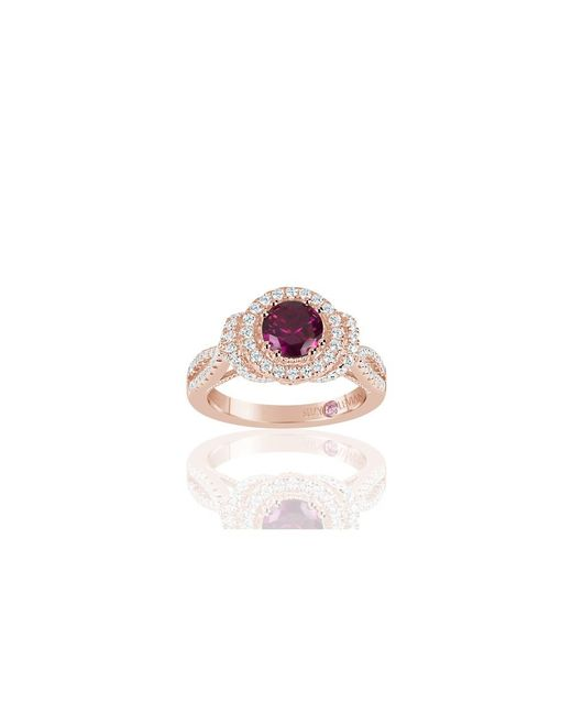 Suzy Levian - Red Rose Sterling Silver Created Ruby And White Cubic Zirconia Anniversary Ring - Lyst