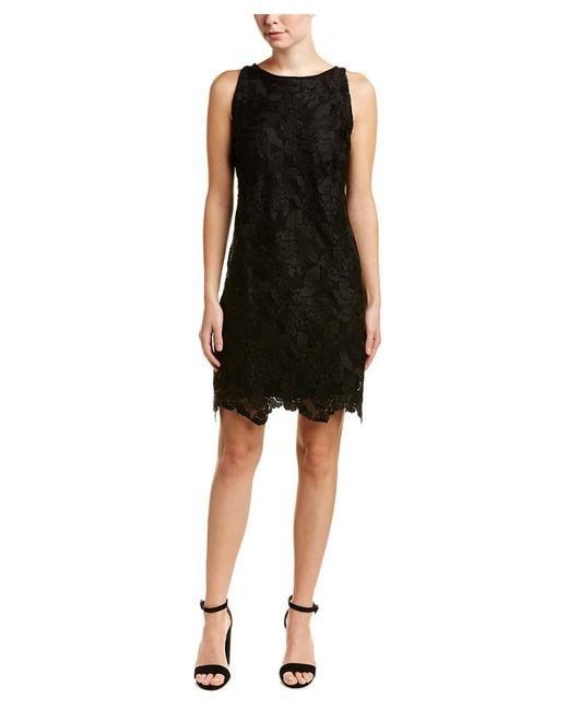 Three Dots - Black Lace Shift Dress - Lyst