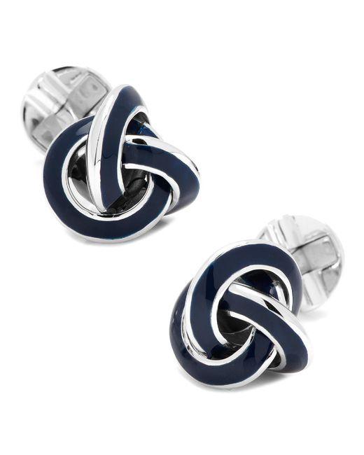 Ox and Bull Trading Co. - Metallic Sterling Blue Enamel Knot Cufflinks for Men - Lyst