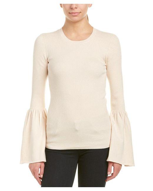 BCBGMAXAZRIA - Natural Bell-sleeve Wool-blend Sweater - Lyst