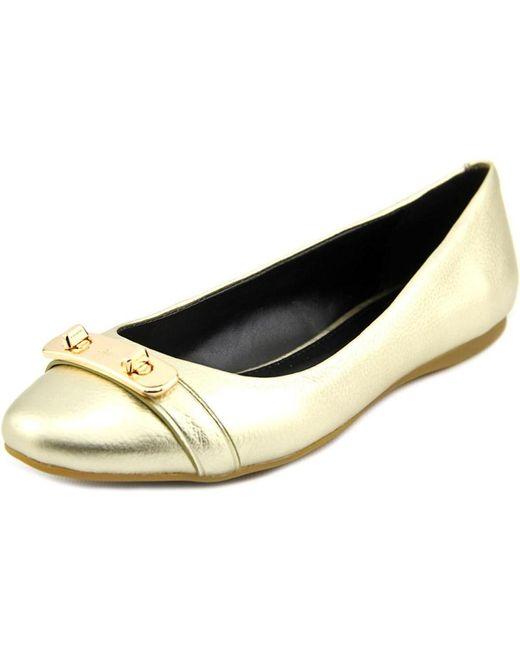 COACH   Metallic Merilyn Women Round Toe Leather Gold Flats   Lyst