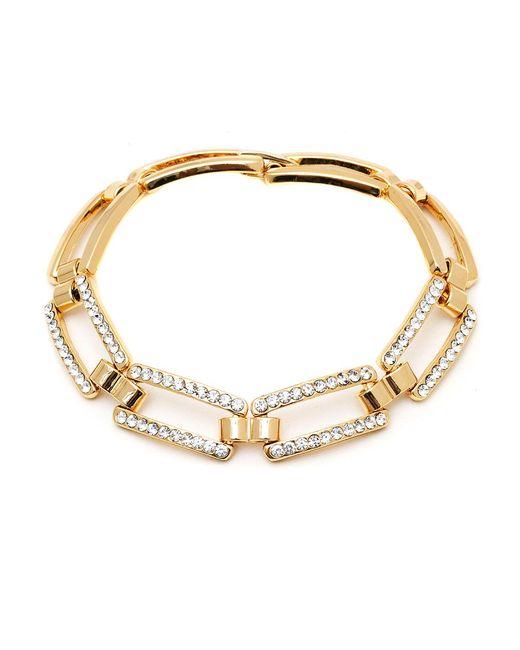 Peermont | Metallic Gold And Swarovski Elements Link Bracelet | Lyst