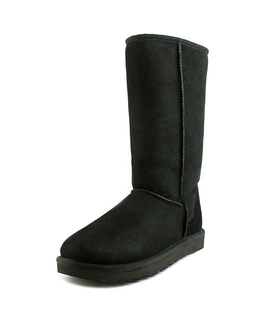 Ugg | Classic Tall Ll Women Round Toe Suede Black Winter Boot | Lyst