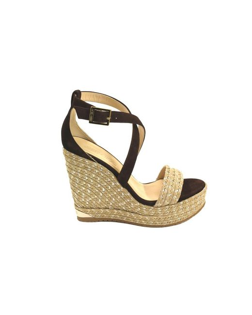 Jimmy Choo | Women's Portia120brown Brown Leather Wedges | Lyst