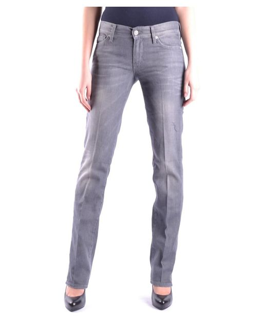 7 For All Mankind | Gray Women's Mcbi004003o Grey Cotton Jeans | Lyst