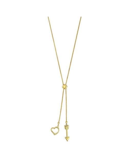 JewelryAffairs - 14k Yellow Gold Heart And Arrow Charm Long Necklace, 28 - Lyst